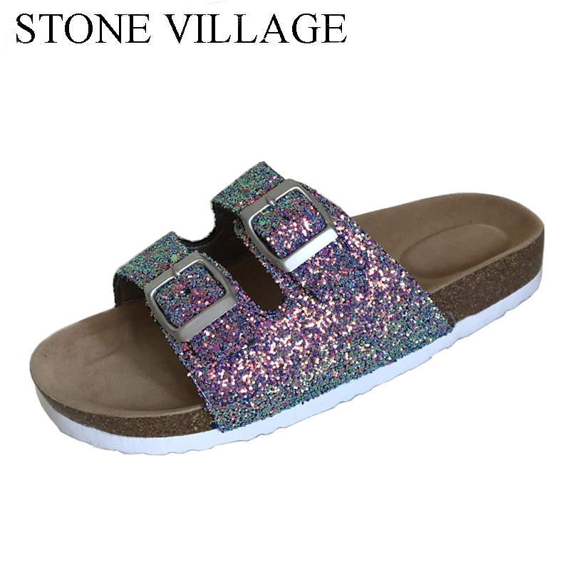 STONE VILLAGE Summer Casual Flip Flops Women Flat Summer Outdoor Beach Slipper Shoes Bling Women Slippers Sandals Slides 2016 summer patent leather buckle slides for women fashion stone upper flat platform ladies casual beach slippers sandals shoes