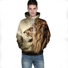 Herbst Winter männer Tops Coat Tier 3D Gedruckt Lion Männlichen Und Weiblichen Paar Mit Kapuze Hoodies Beiläufige Oansatz Pullover Sweatshirts