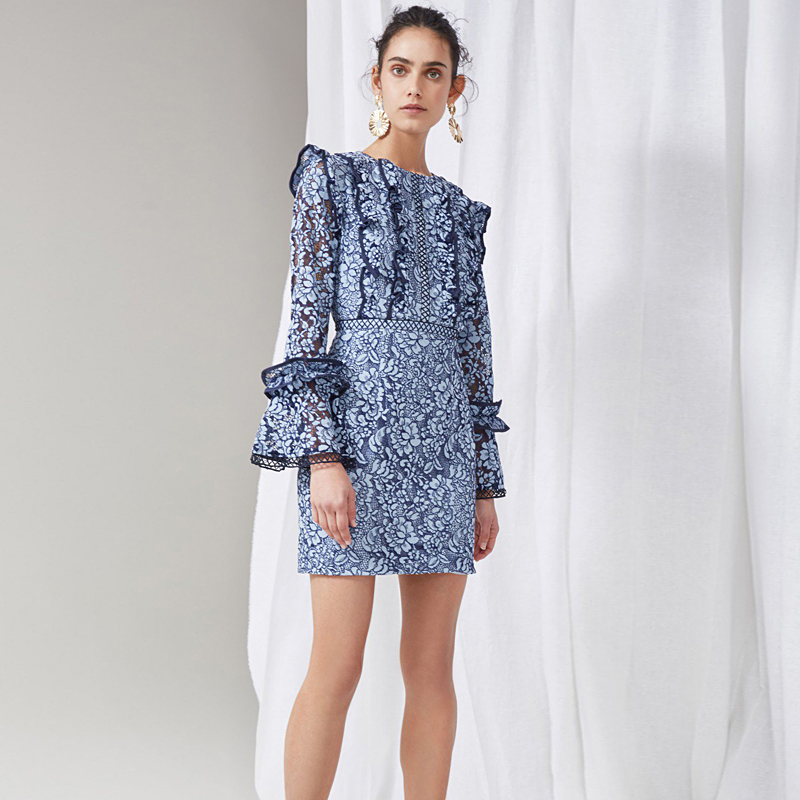 Short Dress Runway High Quality Spring Summer New Women'S Party Fashion Sexy Star Vintage Elegant Blue Lace Long Sleeved Dresses ilismaba new ladies fashion sexy autumn long sleeved brand dresses high quality printed knitted elastic fabric women s dress