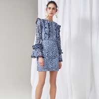 Short Dress Runway High Quality Spring Summer New Women'S Party Fashion Sexy Star Vintage Elegant Blue Lace Long Sleeved Dresses