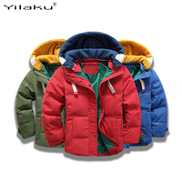 Yilaku boys coat winter jackets girls long sleeve snowsuit winter coat for kids Hat Removable boys down Coats Solid blue CG393