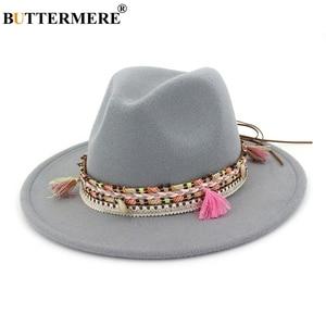 Image 2 - BUTTERMERE נשים פדורה כובע צמר חאקי ג אז כובעי נקבה לאומי מזדמן גדול אפס מקום בציר סתיו קלאסי הרגיש כובע וכובע 2020