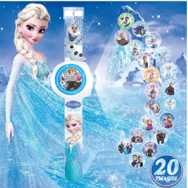 Princess Elsa Kids LED Digital Watches Cartoon Projection Children Watch For Boy