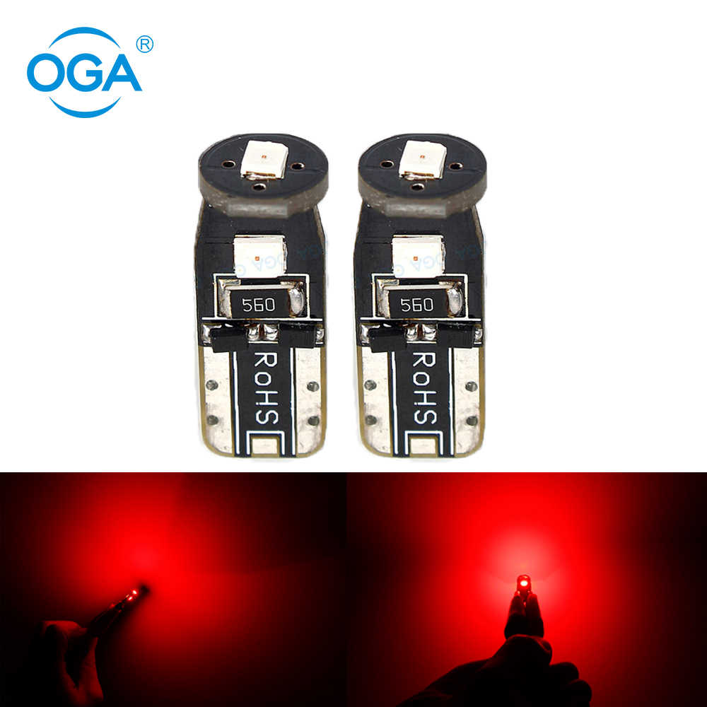 OGA 2PCS T10 Led W5W 168 194 Auto Led Bulb Non Polarity License Plate Light Reading Lamp Door Clearance Lamp Red Yellow 2835SMD