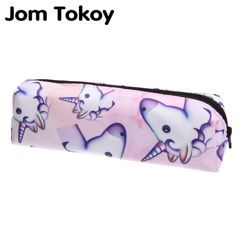 Jom tokoy 3D Print unicorn Cosmetic Bag Women Makeup Bag 2018 The New Stationery Pouch Kids School Pencil Bag dinosaur print makeup bag