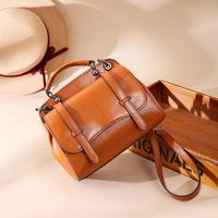Foxtail Lily Ladies Vintage Tote Shoulder Bag Women Genuine Leather Handbags Famous Designer Small Messenger Bags