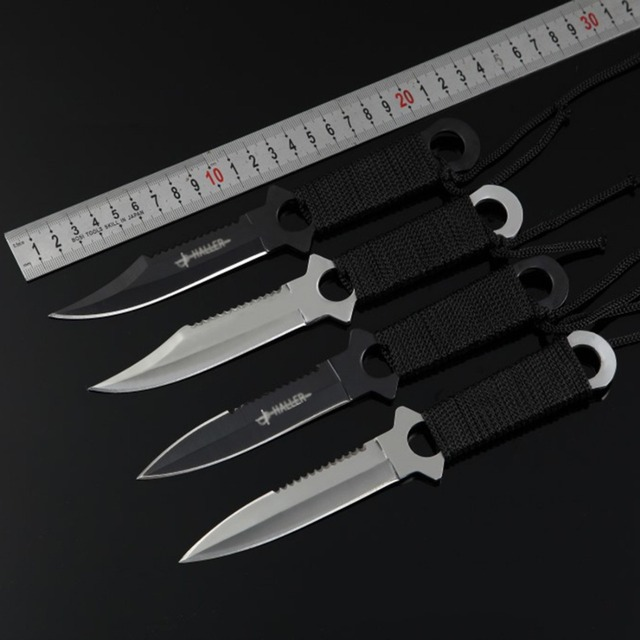 4Pcs Serrated Blade Sharp Knife with Sheath Tactical Knife for Hunting Camping Hiking