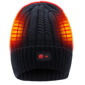 QILOVE 7.4V Rechargeable Electric Warm Heated Hat Winter Battery Skull Beanie,Black,3 Heat