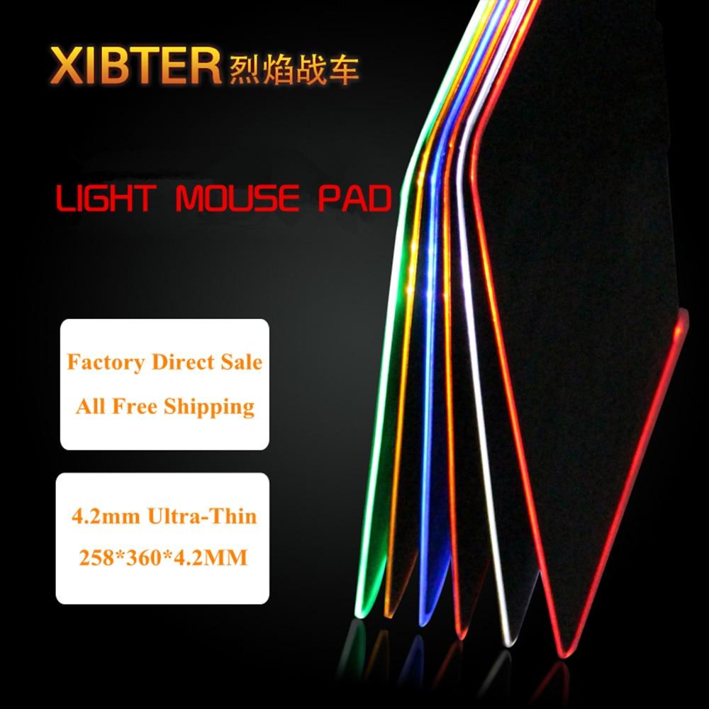 Lighting Gaming Mouse Pad Stor Gummi Base Matte Overflade Farve Glødende Lås Edge USB Mønster Pad Til PC Gamer Gratis Levering