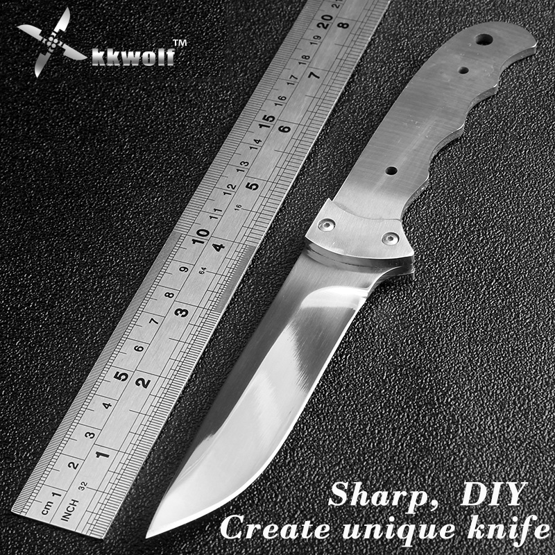 High quality sharp stainless steel blank diy handle 440C blade outdoor tactical survival knife EDC defense diving fixed blade