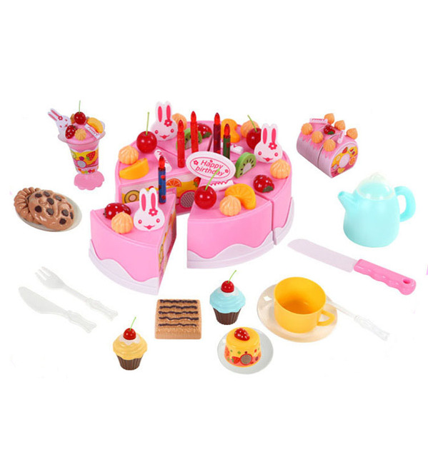 75pcs DIY Cutting Birthday Cake 5.5inch Children Kids Baby Early Educational Classic Toy Pretend Play Kitchen Food Plastic Toy