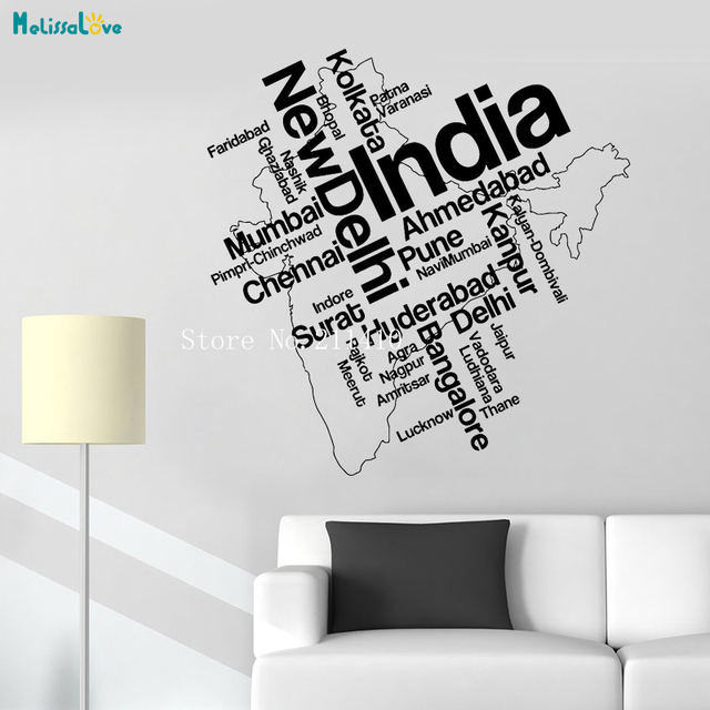 words india map vinly wall sticker new delhi indian tourist