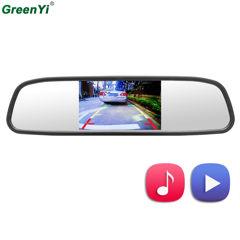 GreenYi 4.3 TFT LCD Color Car Mirror Monitor Screen with Remote Support 3CH Video Input MP5 USB SD Card For Rear View Camera