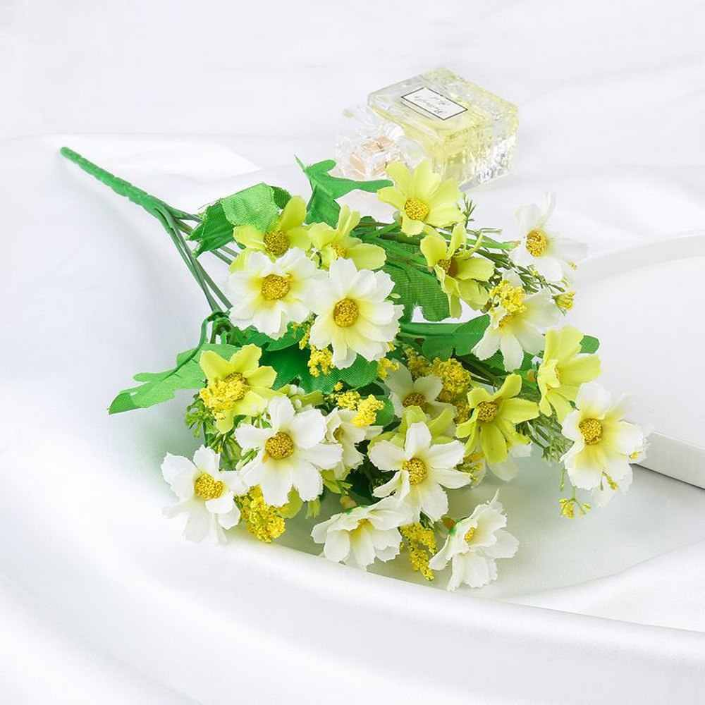 Cute Silk Daisy Artificial One Bouquet 7 Branch 28 Heads Wedding Flower Bouquet for Room Sittingroom Table Decoration flowers