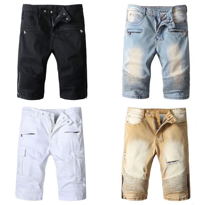 Summer Fashion Men's Jeans Shorts High Street Punk Style Denim Shorts Black White Blue Khaki Color Hip Hop Short Biker Jeans Men