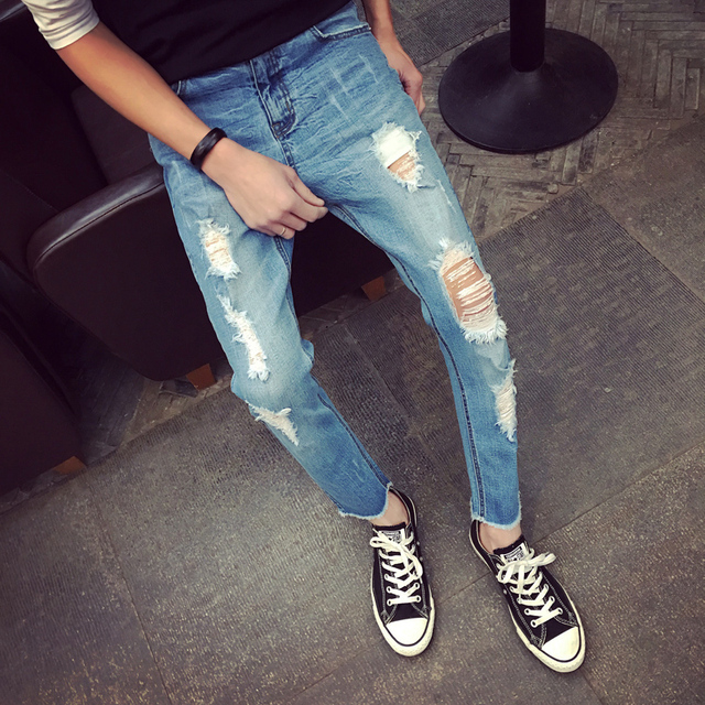 Aliexpress.com : Buy 2016 New Hi Street Slim Fit Ripped Jeans For