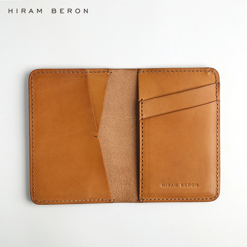 Hiram Beron CUSTOM NAME FREE Minimalist wallet case card holder for men card bag Italian vegetable tanned leather holiday gift ...