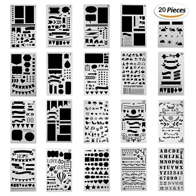 Aliexpress.com : Buy 20/12 Pcs bullet Journal Stencil Set cutting ...