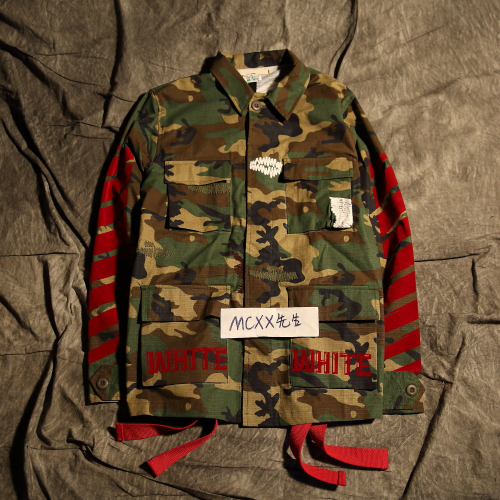 Off White men and women couple red flocking camouflage long-sleeved denim  jacket 696d4057c2