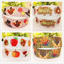 Free shipping 1'' 25mm Happy Thanksgiving Day Series printed Grosgrain ribbon holiday ribbon gift wrapping accessory 10 yards(China)