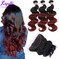 Ombre Malaysian Hair with Frontal Closure kapelli 3 Bundles with Full Lace Frontal  Malaysian Body Wave Ombre Human Hair Weave