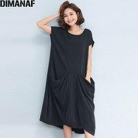 DIMANAF Women Long Dress Sundress Plus Size Solid Black Loose Linen Summer Female Vintage Vestidos Casual