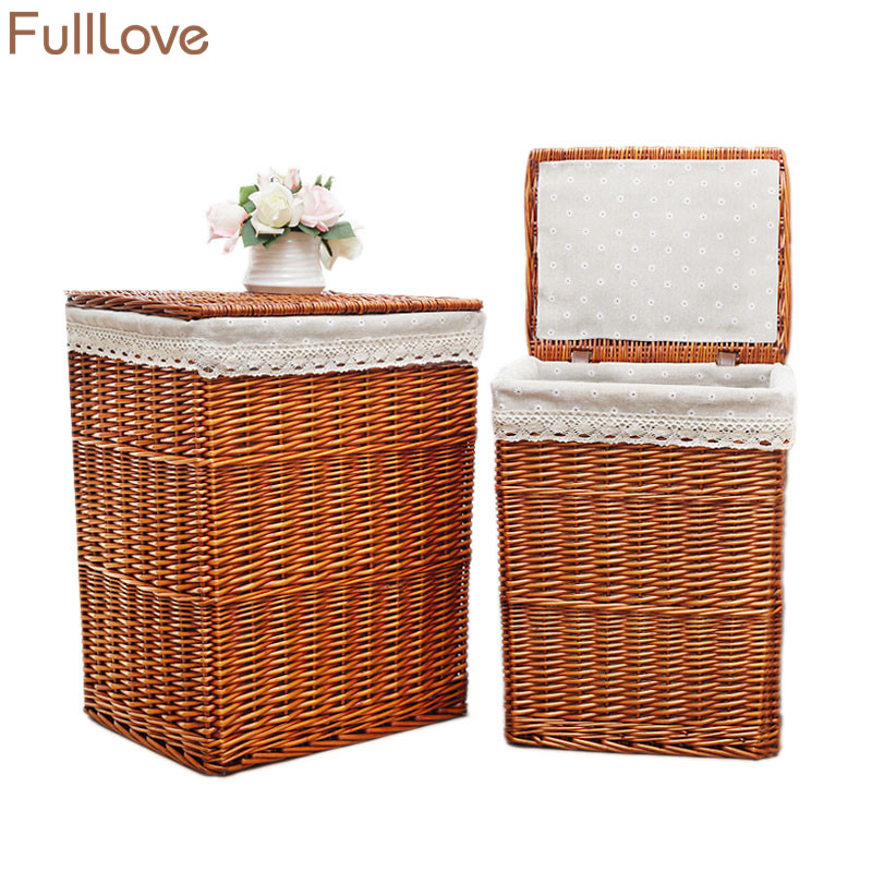 FullLove 38*28*46cm Wicker Storage Basket Brown Square Laundry Basket with Lid Clothing Organizer Home Storage & Organization