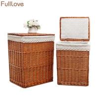 FullLove 38*28*46cm Wicker Storage Basket Brown Square Laundry Basket with Lid Clothing Organizer Home Storage & Organization