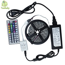 Tanbaby 5M SMD 5050 rgb led strip+44key controller+24V 2A 60led/M NON- waterproof flexible indoor ribbon decoration lamp