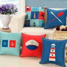 Новое поступление, светильник в виде якоря моряка, наволочка для подушки, домашний декор, с принтом 45x45 см, льняная квадратная наволочка для домашнего декора B286