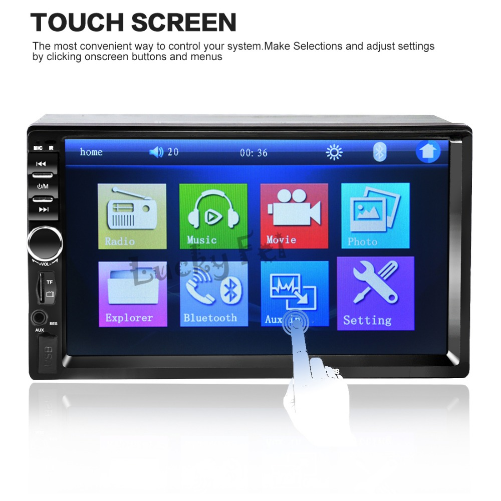 NEW 2 Din Car Video Player 7 HD Touch Screen 1080P Bluetooth Stereo Radio FM SD