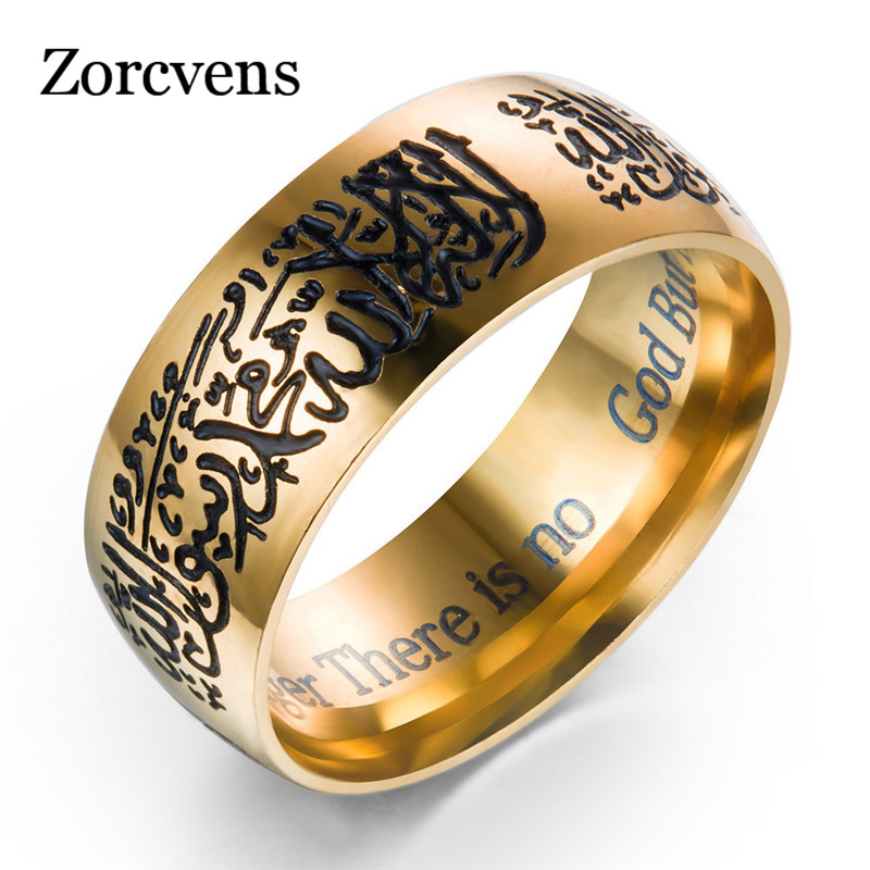 ZORCVENS New hot selling 8mm Gold Color Stainless Steel ring Muslim religious ring Islamic halal words ring men ring gold earrings for women