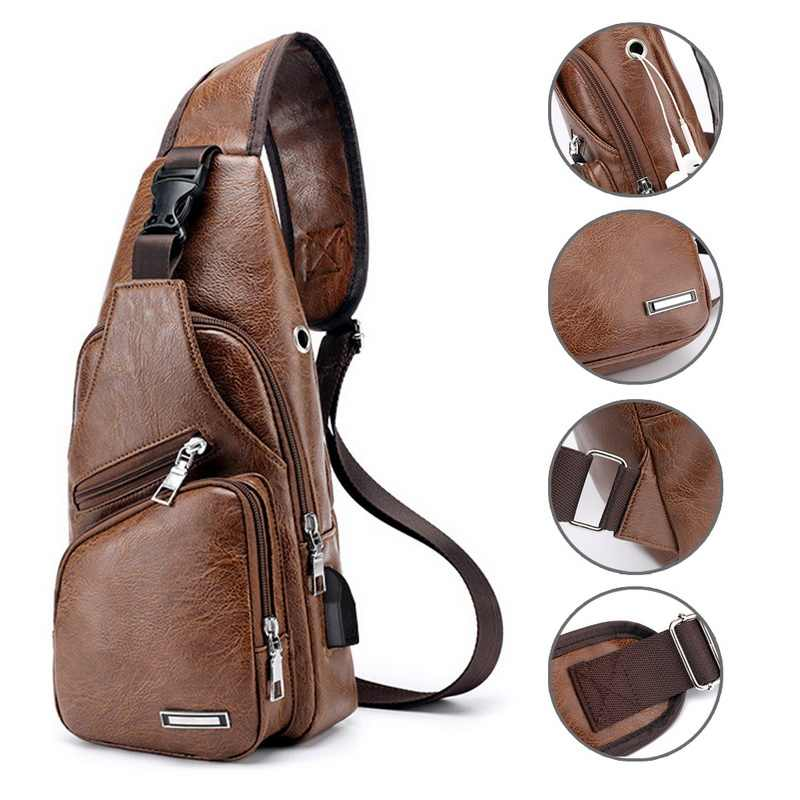 Men's Chest Bag Men Leather Chest Pack USB Backbag With Headphone Hole Functional Travel Organizer Male USB Charging Sling Bag