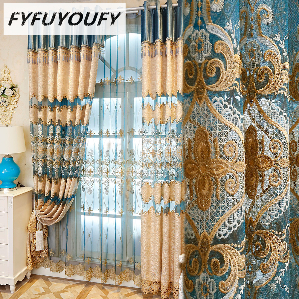 Blackout Kitchen Curtains Polyester Valance Tiers 3: Polyester Luxury Embroidered Blackout Curtains The