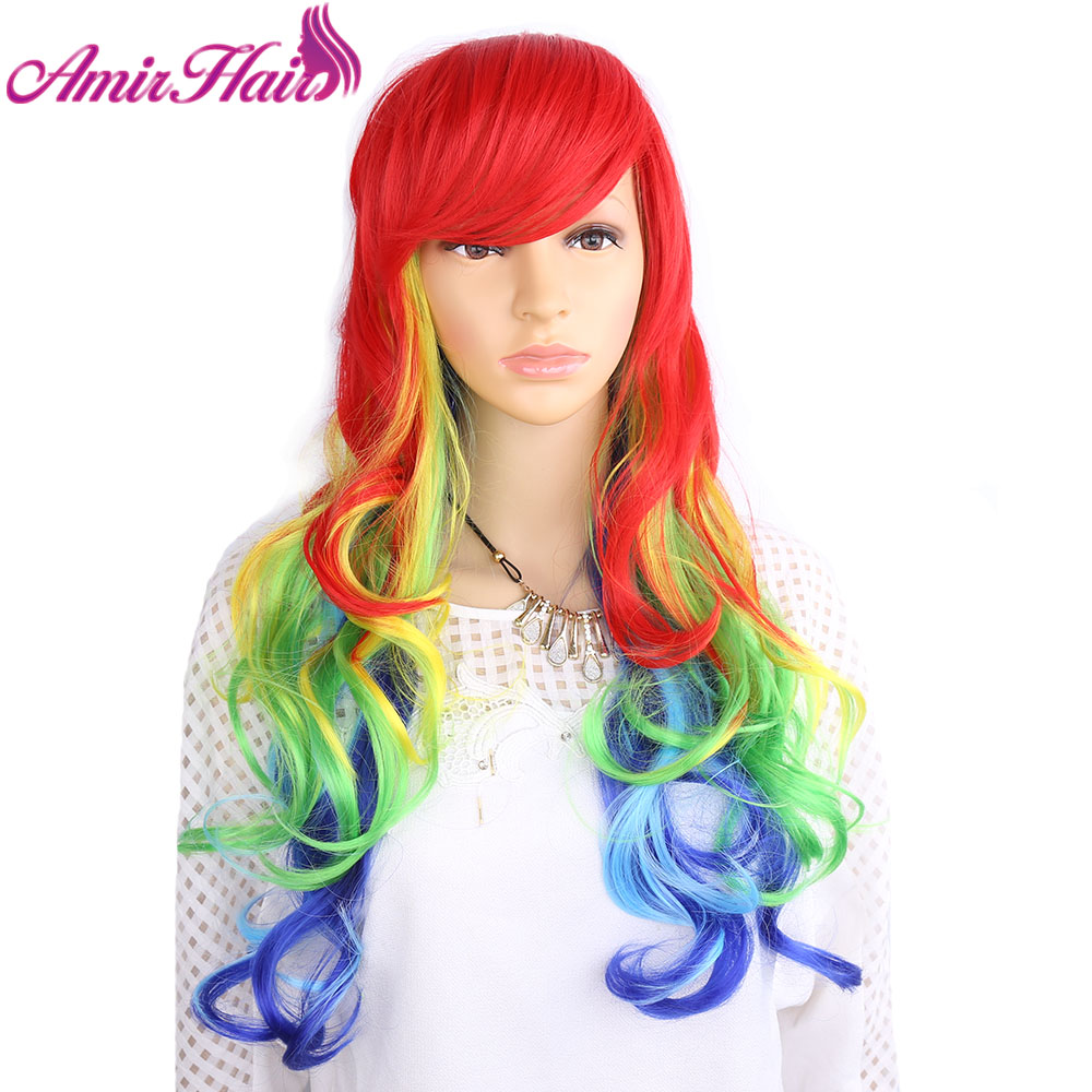 Amir Hair 26inch Loose Wavy Synthetic hair Wigs with Long Ombre Colorful Deep weave Cosplay Wigs for Women on party