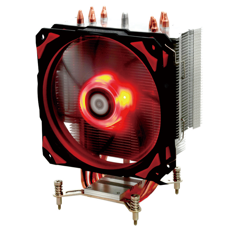 ID-COOLING SE-214pro red and black version of the four heat pipe CPU quiet temperature control radiator LED fan