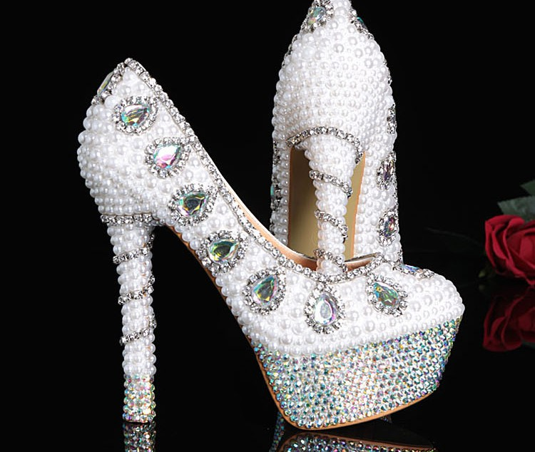 Luxury Fashion crystal pearl high heel wedding shoes for bride sexy party dress shoes Bridal Dress Shoes elegant women shoesLuxury Fashion crystal pearl high heel wedding shoes for bride sexy party dress shoes Bridal Dress Shoes elegant women shoes