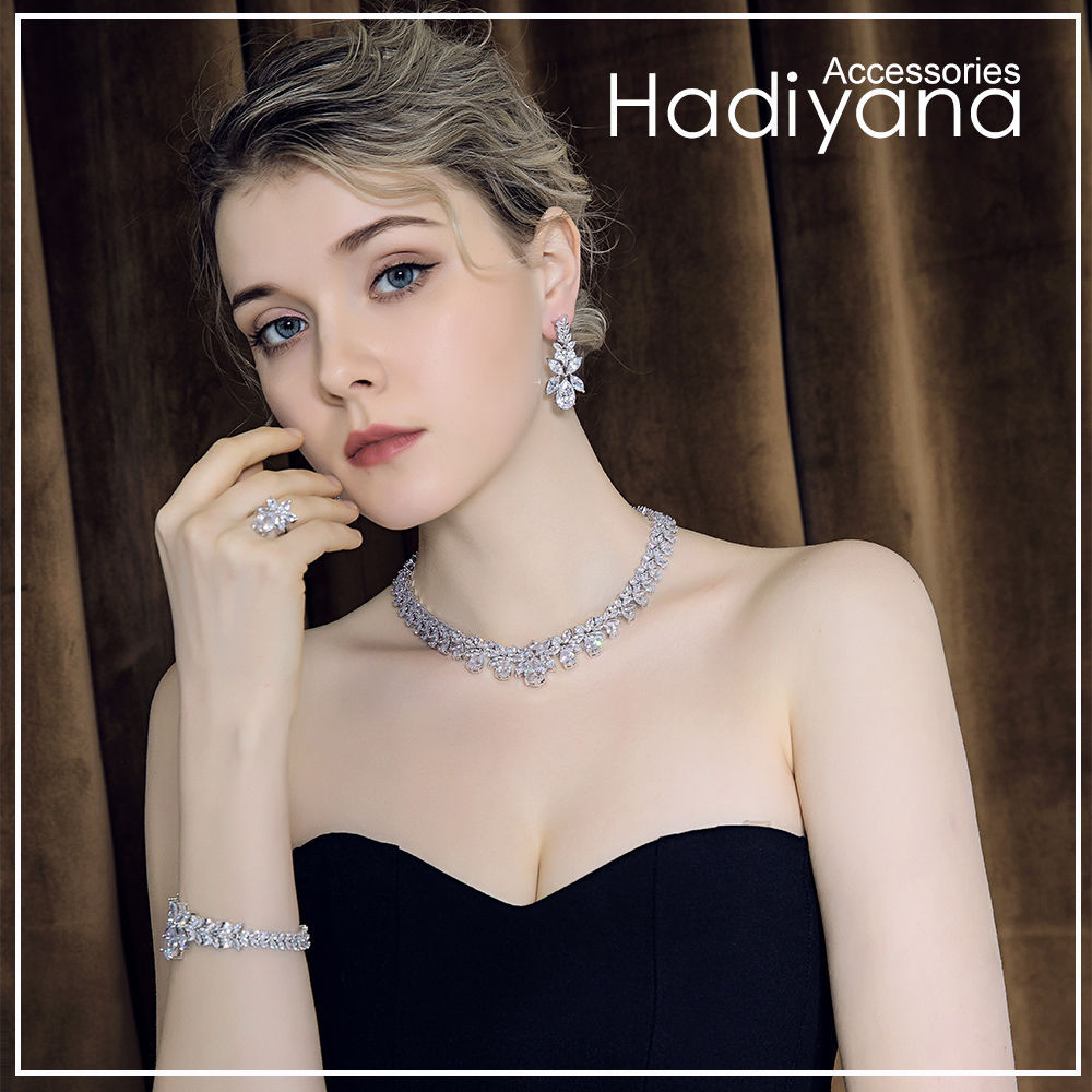 Hadiyana Bijoux Femme Ensemble Wedding Jewelry Sets For Women Sparkling AAA Zircon Copper Fashion Bridesmaid Jewelry Set CN184