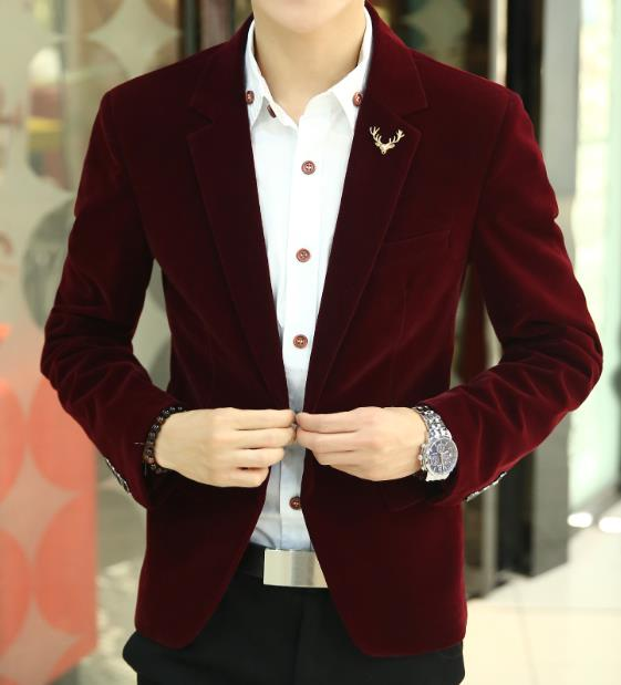 Free Shipping 2019 Mens Brand Blazer Jacket New Arrival Hot Sale Promotion Male Clothing Factory Blazer Masculino Red Velvet