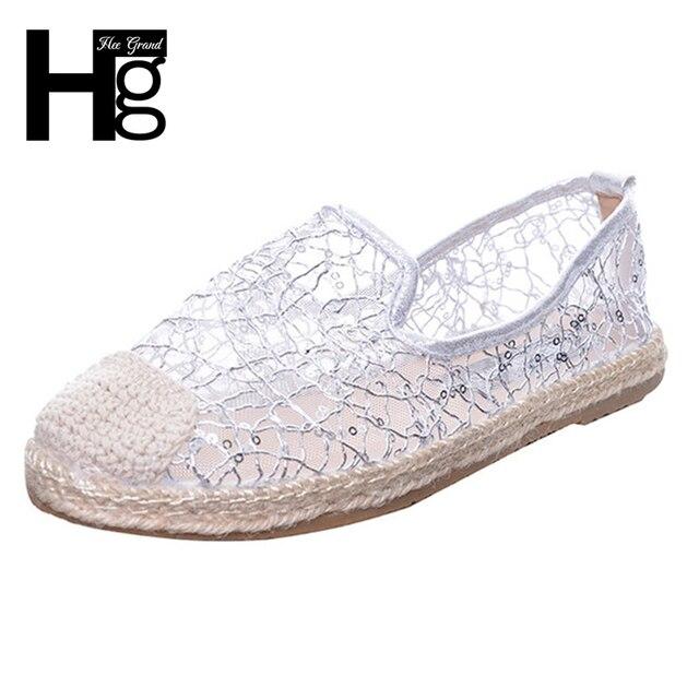 edf8fea44 HEE grande 2017 Glitters Loafers Slip On Platform Sapatos Pescador Mulher  Bling Malha Apartamentos Casuais Mulheres