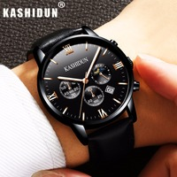 KASHIDUN Men S Watches Top Brand Luxury Fashion Wrist Watch Men Chronograph 2017 Clock Leather Quartz