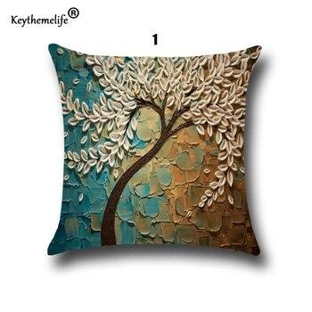 1 Adet 45 Cm 45 Cm üç Boyutlu Boyama çiçekler Ağaçlar Keten Yastık