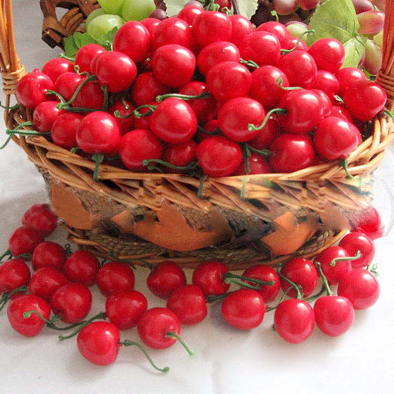 50 pcs plastic artificial cherry crafts fruit crafts house for Artificial cherries decoration