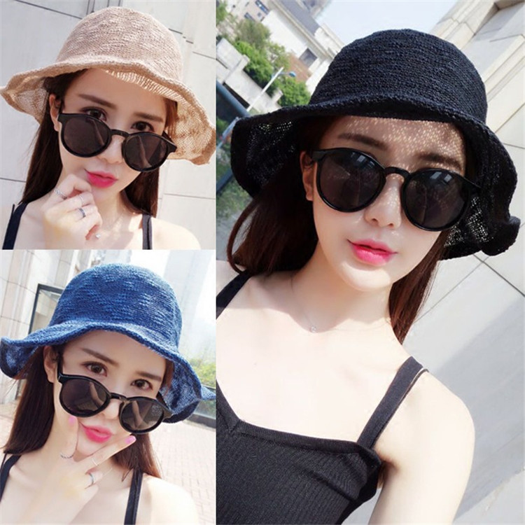 Summer New Style Hat Lady Cotton Collapsible Sun Protection Hat Outdoor Travel Casual Beach Bucket Hats ACF17 (2)