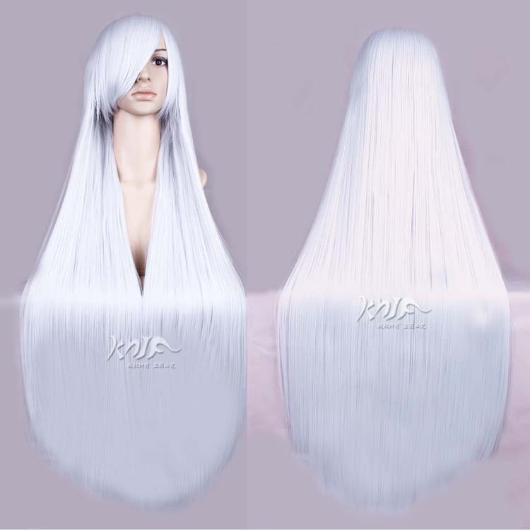 100cm Synthetic Long Straight Squalo silve white Cosplay Anime Wig + wig cap