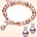 2016 Charm Bracelet Pearl Jewelry Natural Freshwater Pearl Bowknot Bracelet 925 Sterling Silver Jewelry Bracelet For Women