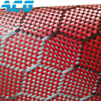 Jacquard Carbon Fiber Cloth For Auto Parts Red Kevar Honey Comb Pattern