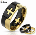 316L Stainless Steel Mens 2-Tone/Black/Gold IP Cross Puzzle Ring Size 6-13