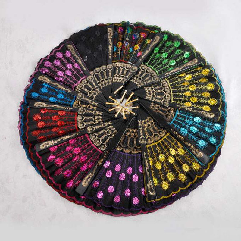 Retro Princess 300pcs Girl Embroidered Folding Sequins Hand Lace Flower Fan Party Wedding Decoration Gifts Souvenirs For Guest Party Favors Home & Garden