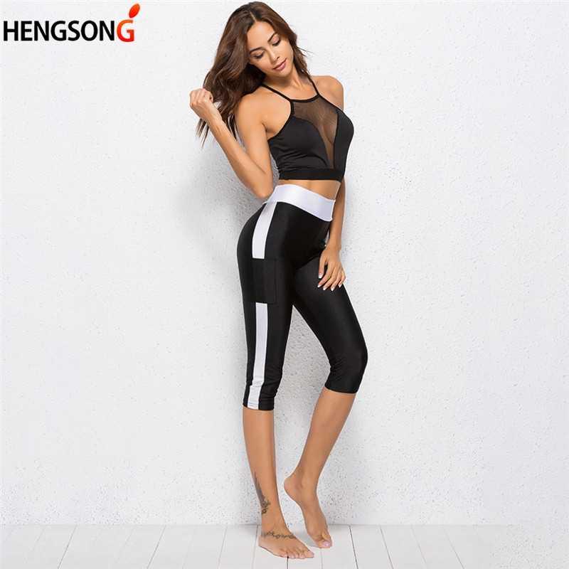 Kieszeń legginsy dla kobiet fitness legginsy połowy łydki długość wysokiej talii elastyczne leginsy damskie spodnie capri spodnie damskie